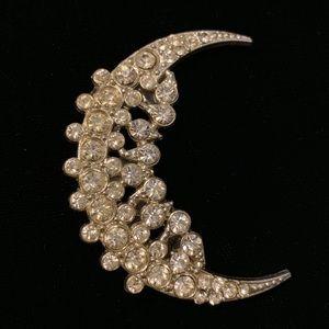 Vintage crystal crescent Moon pin